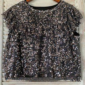 1X a beautiful soul gray sequin RUFFLE top shirt